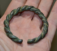 "A superb, heavy and robust Celtic (Iron Age) ladies bronze ""Rope Twist"" bangle. SOLD"